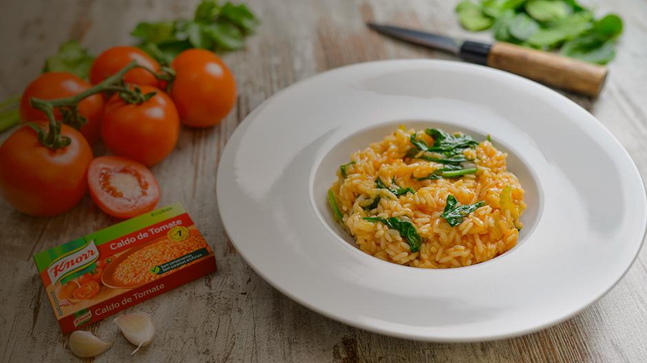 Receita Arroz de tomate malandrinho com espinafres