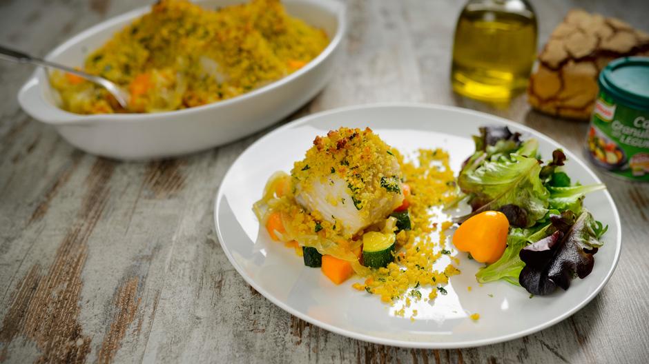 Receita Bacalhau em cama de legumes com crosta de broa