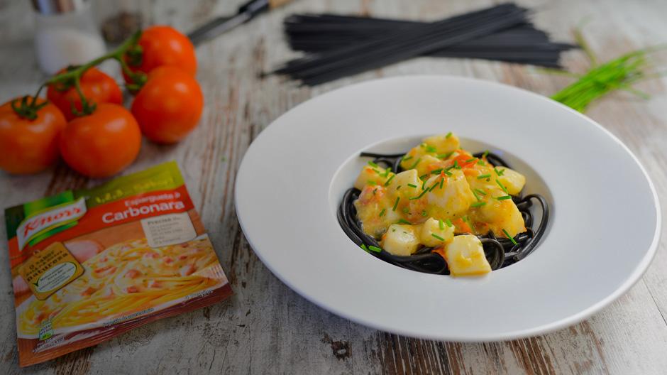 Tiras de Pota com Esparguete Negro