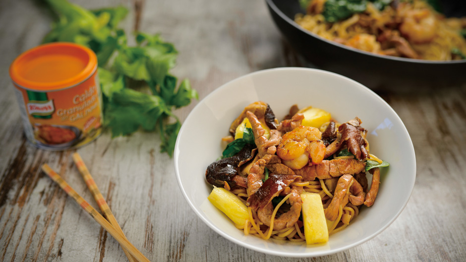 Receita Noodles com Camarão e Tirinhas de Porco