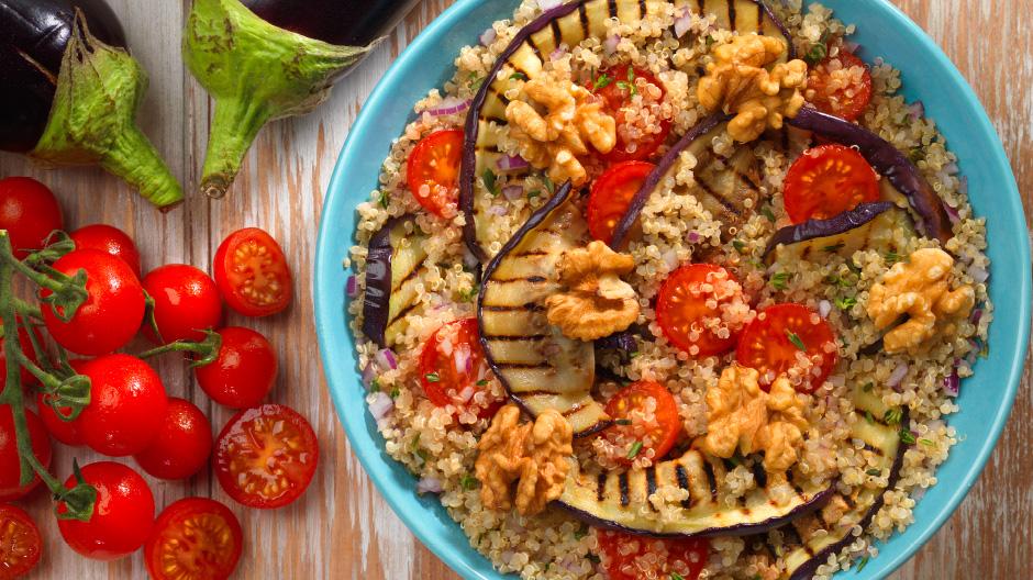 Receita Quinoa com beringela grelhada
