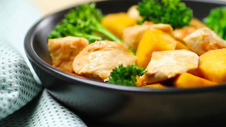 Receita salteado de frango com batata doce e bimis