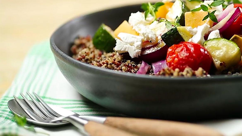 Receita de vegetais assados e quinoa