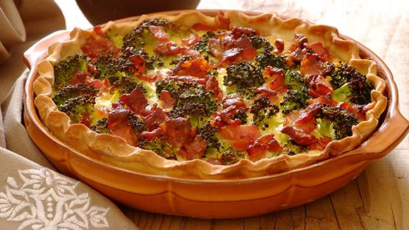 Receita Tarte de requeijão com brócolos e bacon