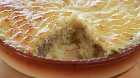 Картофельный пирог с куриной печенкой