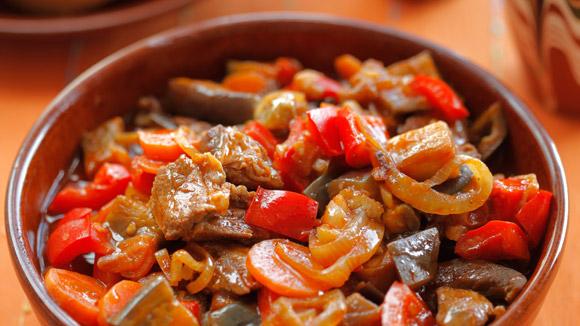 Рагу из телятины с баклажанами