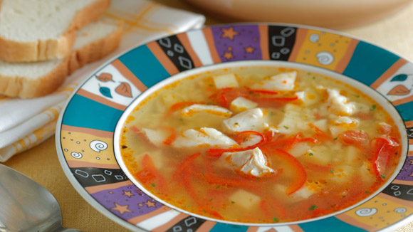 Рыбный суп с  рисом и овощами