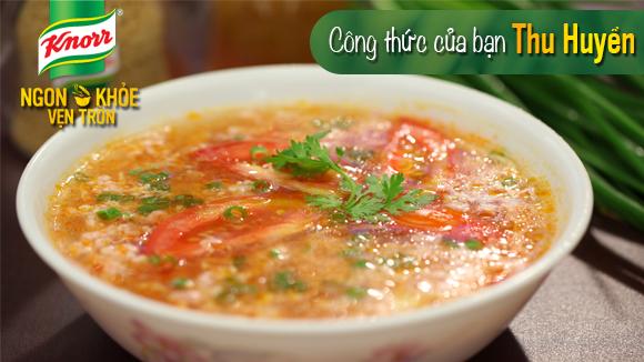 Canh trứng thịt cà chua