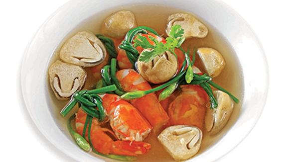 Bông hẹ cuộn tôm nấu nấm