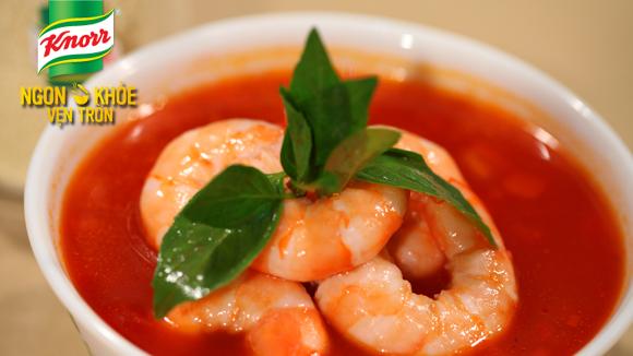 Tôm nấu súp cà chua
