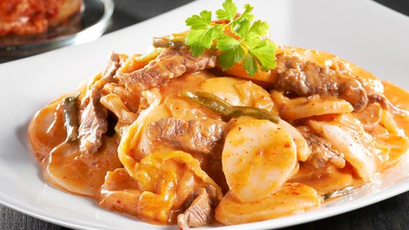 芝士泡菜年糕炒牛肉
