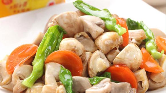 小棠菜炒白蘑菇