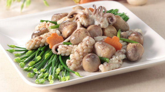 蝦子草菇炒鮮魷