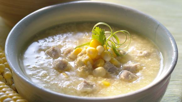 粟米肉粒蛋花雞湯