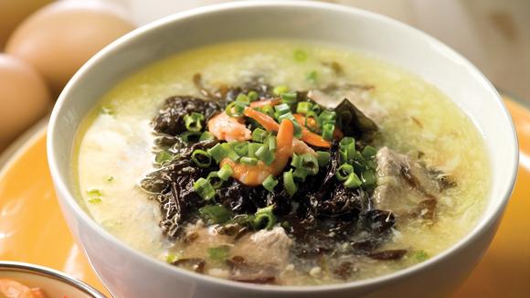 紫菜蝦米蛋花蔥花雞湯