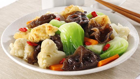 香脆豆泡炒素菜