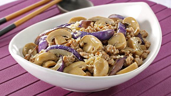 蘑菇肉碎煮茄子