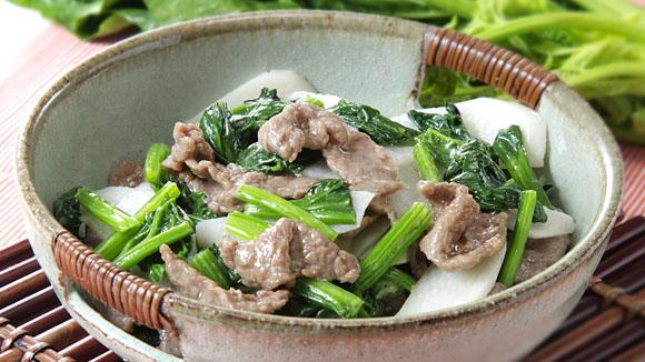 鮮淮山菠菜炒牛肉