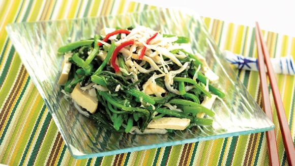 銀魚乾絲炒莧菜