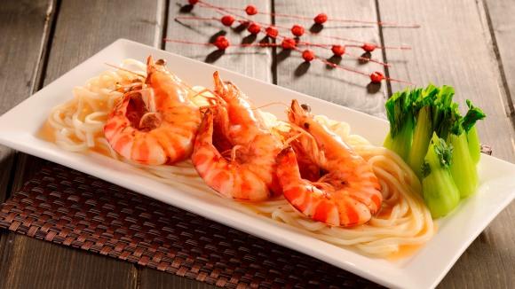 濃湯燴大蝦稻庭麵