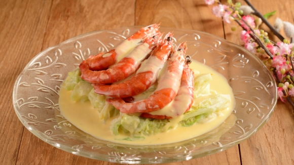 芝士大蝦炆娃娃菜