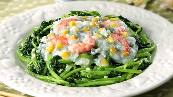 蝦仁蛋白扒菠菜