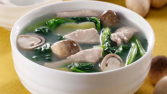 菠菜鮮菇肉片湯