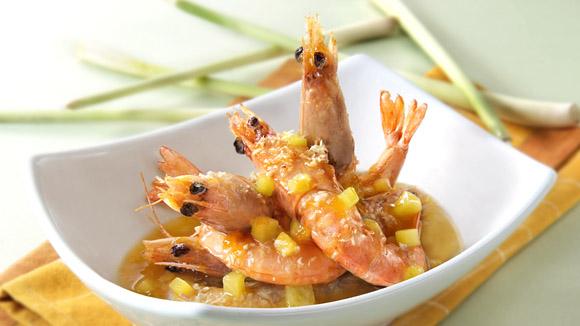 香茅菠蘿炒大蝦