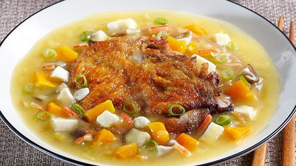南瓜豆腐燴雞腿