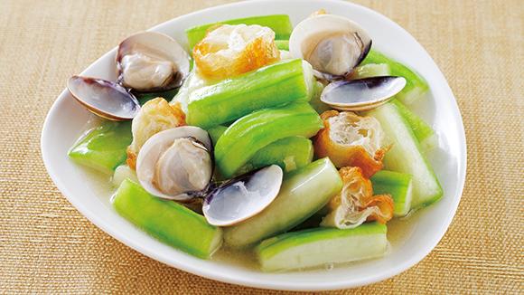 蛤蜊粿子炒絲瓜