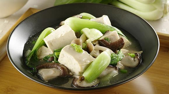 青江菜炒雙菇豆腐