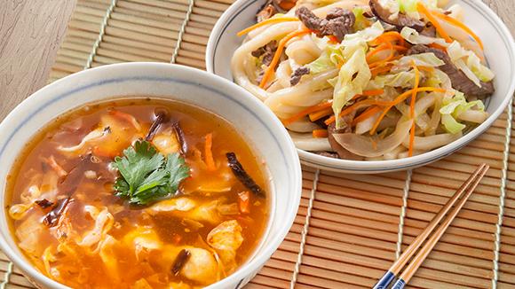 肉絲炒烏龍+川式酸辣濃湯