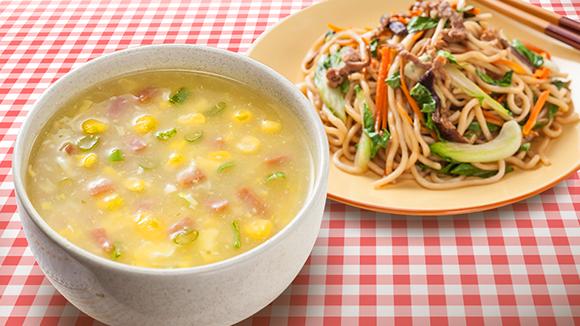 肉絲炒麵+火腿玉米濃湯