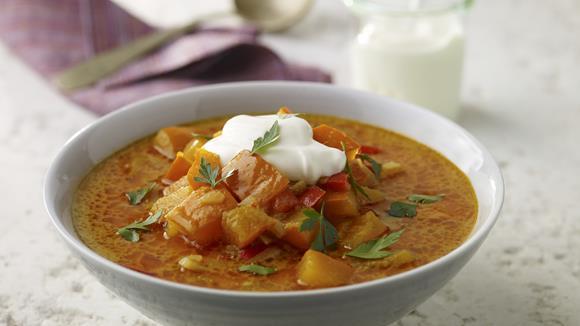 Kürbis-Curry-Eintopf mit Kokosmilch