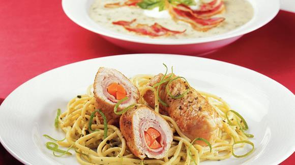 Puten-Limettentascherl mit Knoblauch-Kräuter Spaghetti