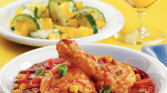 Mexikanische Hühnerkeulen mit Bohnen und Mais