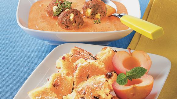 Paprikacremesuppe mit Fleisch-Käse-Knödel