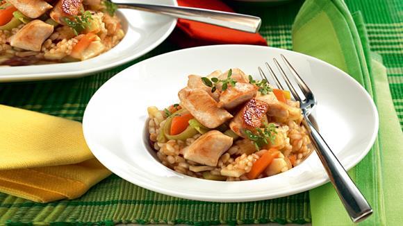 Tessiner Poulet-Risotto mit buntem Gemüse