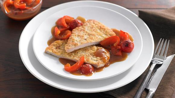 Trutenpiccata mit Tomaten-Peperonisauce