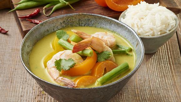 Grünes Thai-Curry mit Garnelen