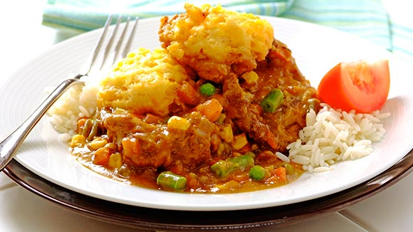Curried Neck With Cheesy Dumplings