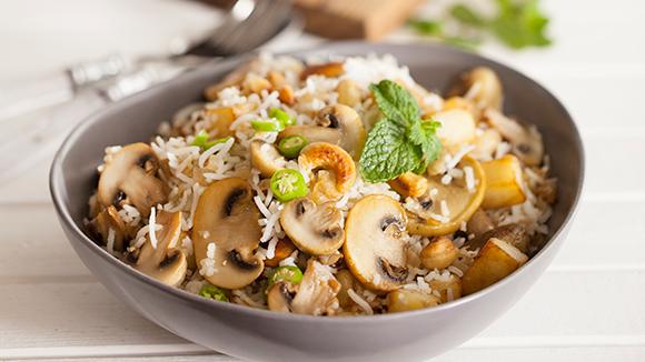 Mushroom Fried Rice with Sweet Raita