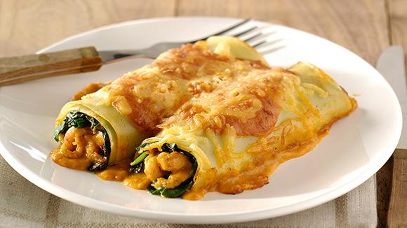 Cannelloni van noordzeegarnalen met spinazie