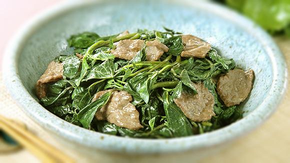 地瓜葉炒牛肉